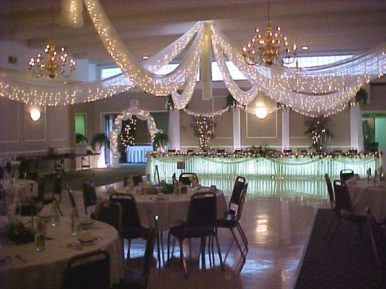 Reception Hall Decorations. Do not miss the reception hall ceiling  A nicely set drape luxuriously style chandelier colorful bunting and balloons led lights all items can be 24 Stunning Ideas for Hall Decorations Weddings EverAfterGuide