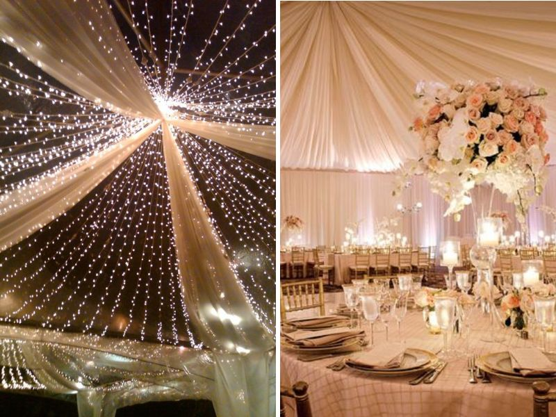Stunning ideas for wedding ceiling decorations everafterguide using ceiling draping is the most traditional way of ceiling decoration satin shimmer organza gossamer or other silk fabrics are used junglespirit