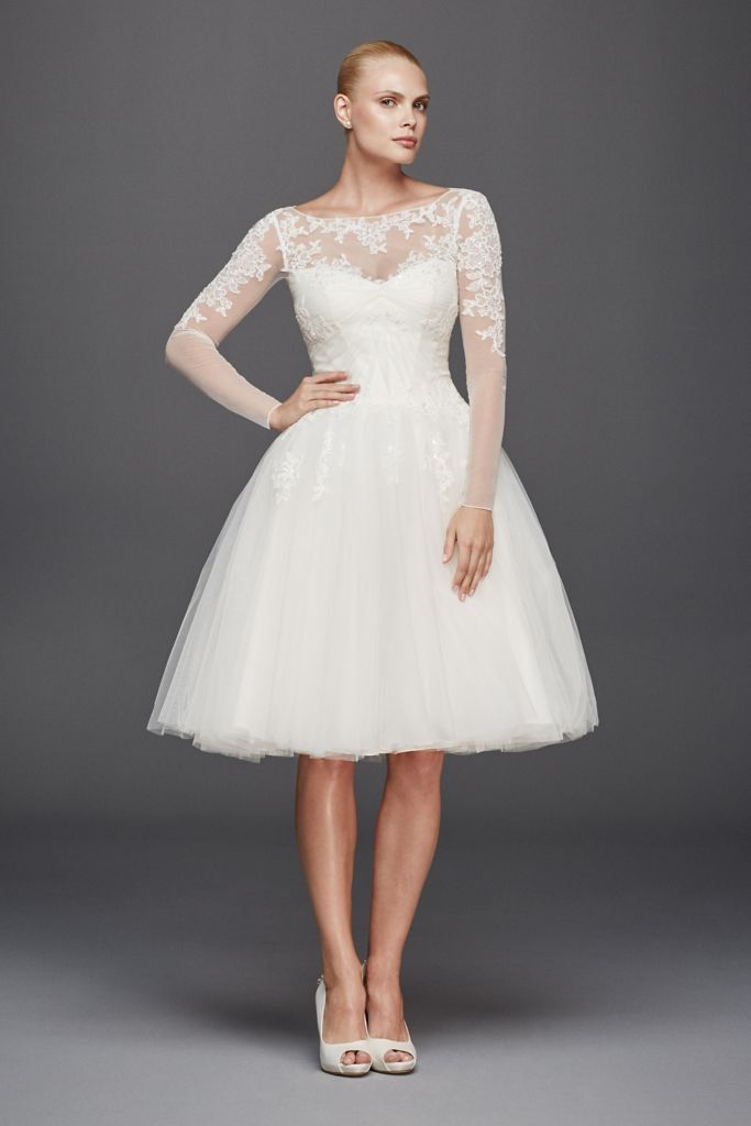 long sleeve short wedding dress sheer subtle and the illusion neckline wedding 5588