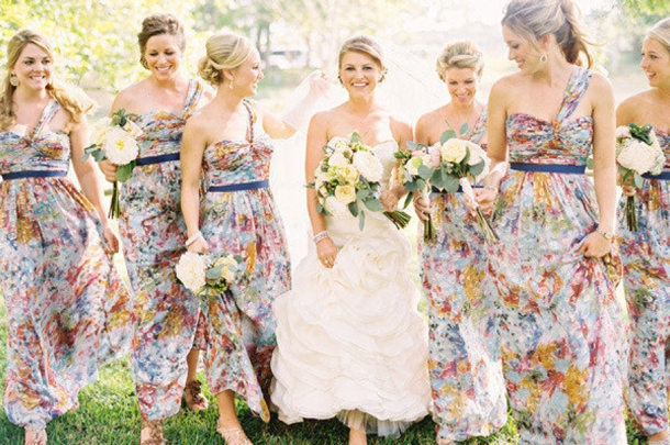 Patterned Bridesmaid Dresses