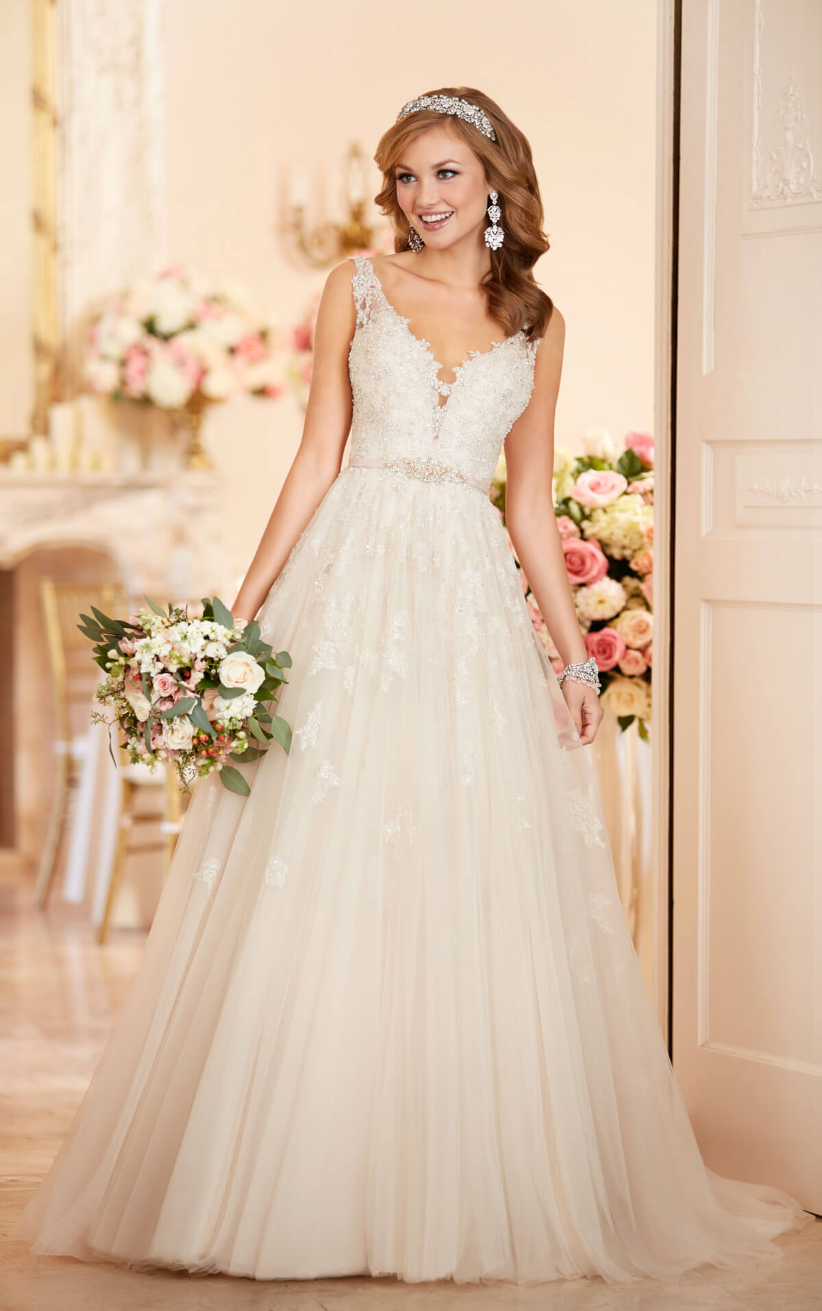 33 trendiest a line wedding dresses everafterguide tulle a line wedding dress junglespirit Images