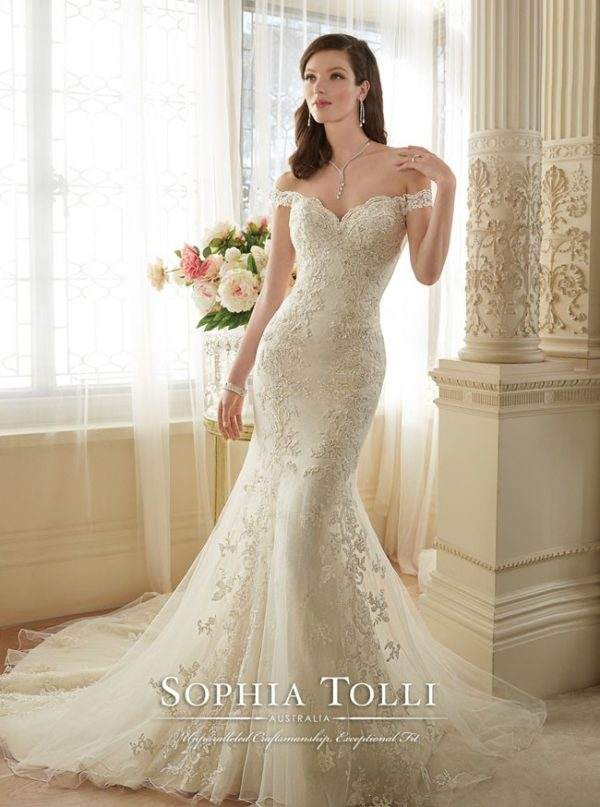 ce0c92000a7 Off the Shoulder Tulle Fit n Flare Gown by Sophia Tolli