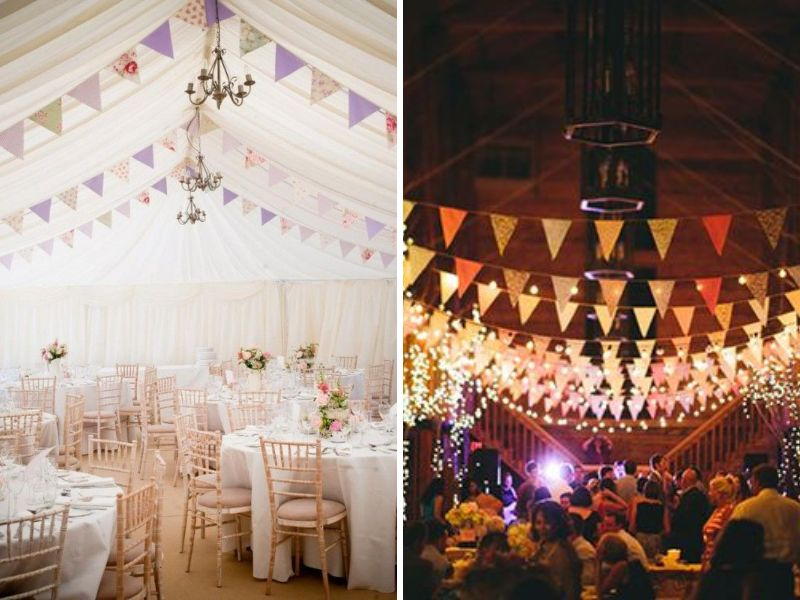 Stunning ideas for wedding ceiling decorations everafterguide buntings for a colorful event junglespirit Image collections