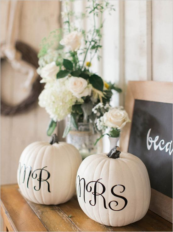 17 homemade wedding decorations for couples on a budget everafterguide mr and mrs pumpkins for a fall wedding junglespirit Images
