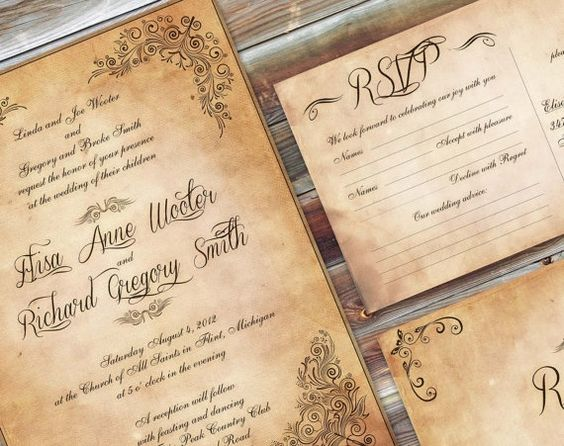 34 vintage wedding ideas you cant miss everafterguide your wedding stationary is the first sign to let your guests know about your vintage theme a vintage styled motif and old lettering style can be selected junglespirit Images