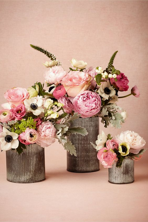 31 unique wedding centerpieces inspirations everafterguide elegant floral combo in a tin centerpiece junglespirit Choice Image