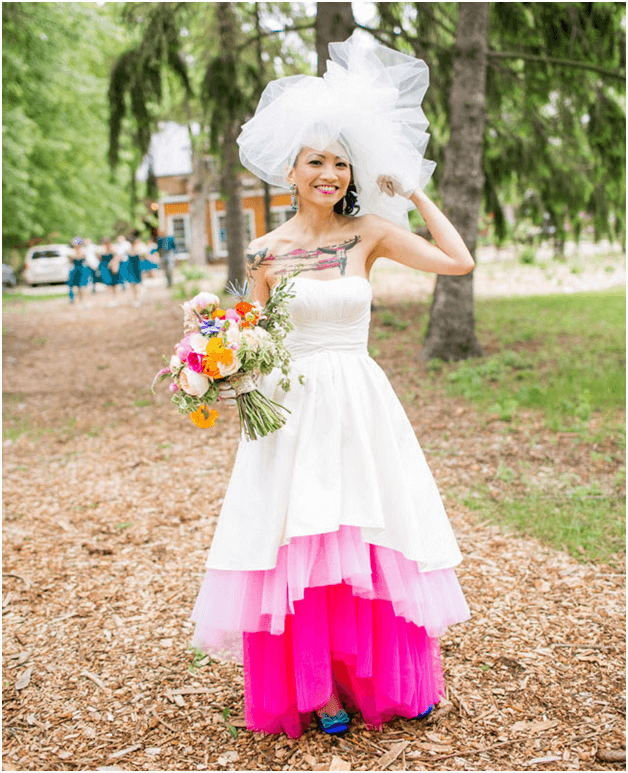 Nontraditional wedding ceremony events and ideas everafterguide wear a colorful wedding dress junglespirit Image collections