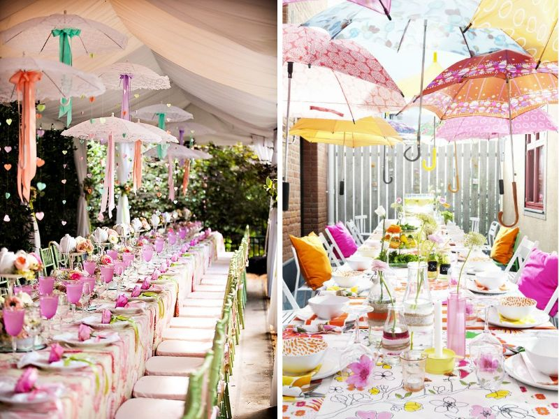 Stunning ideas for wedding ceiling decorations everafterguide ceiling of umbrella for a garden wedding create a colorful diy solutioingenieria Choice Image