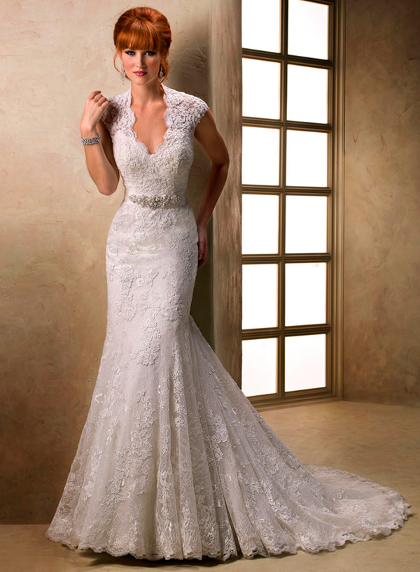 All Over Lace Embroidered High Neck Wedding Gown