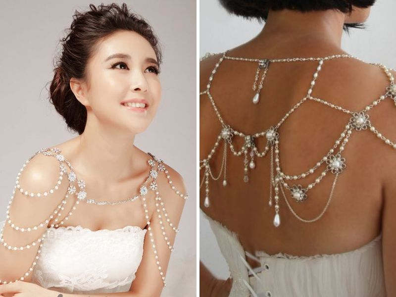 Another Trendsetting Boho Chic Trendy Jewelry Item Is The Shoulder Necklace These Are A Perfect Way To Adorn Simple Bridal Strapless Gown
