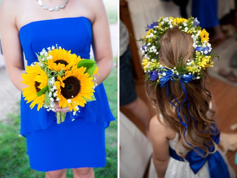 Blue and Yellow Bridesmaid Dresses