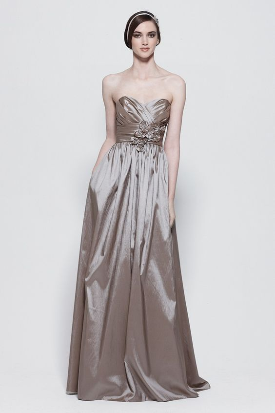 Luminescent Taffeta Floor Length Dress