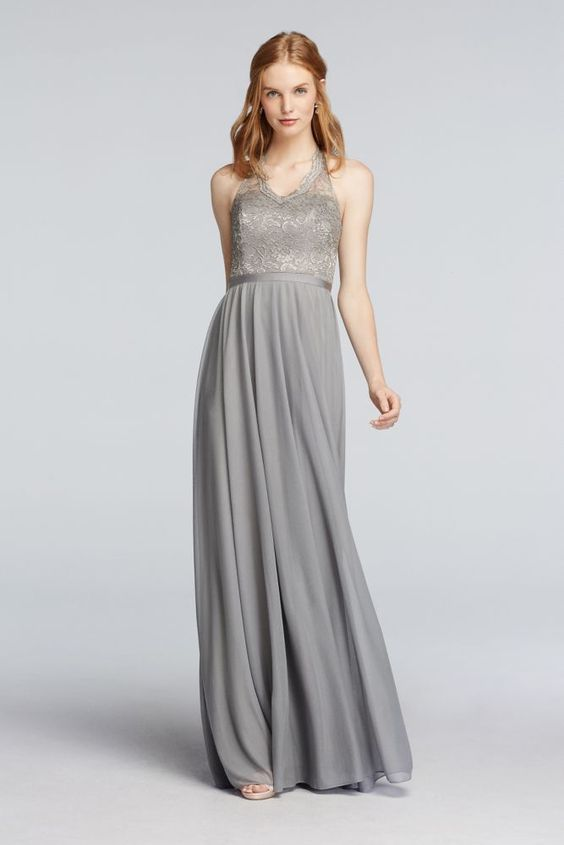 ed3c4fcffa4 30 Most Classy Silver Bridesmaid Dresses - EverAfterGuide