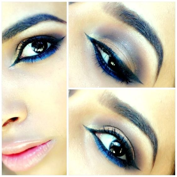 A blue eyeliner with neutral and undertones of blue shades will also complement the outfit. The blue eye makeup should be used for evening parties.