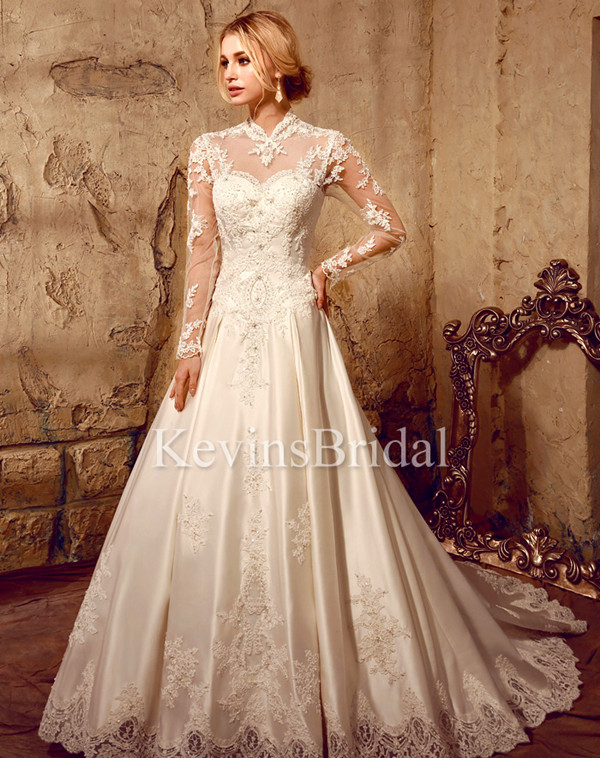 Floor Length Ball Gown Wedding Dress With Illusion Neck And Sleeves