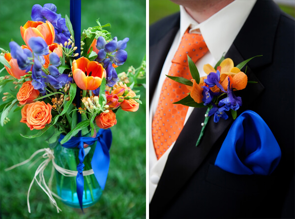 Same Color Of Flowers Or You Can Incorporate A Bit Blue And White To Match Your Gown The Groomsmen Wear Tuxedos With Orange Ties Royal