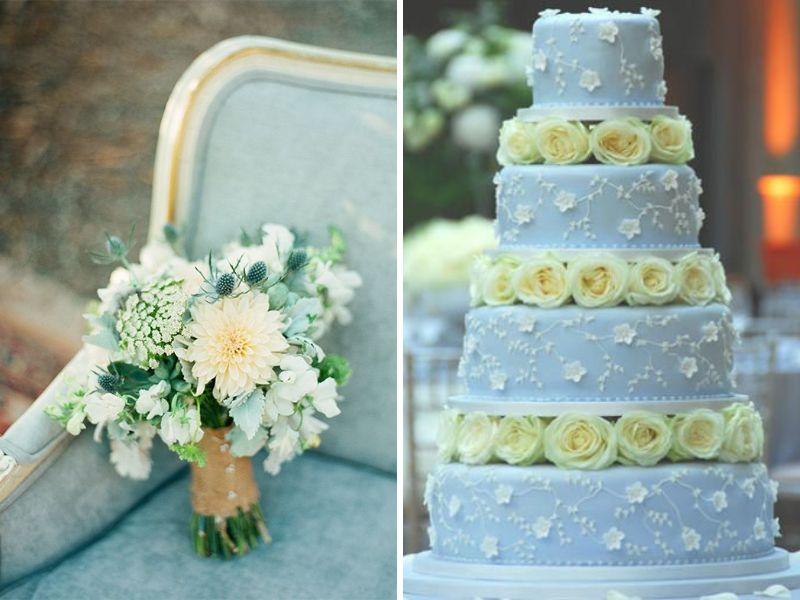 light blue and yellow wedding cakes inspirations for blue and yellow wedding colors 16852