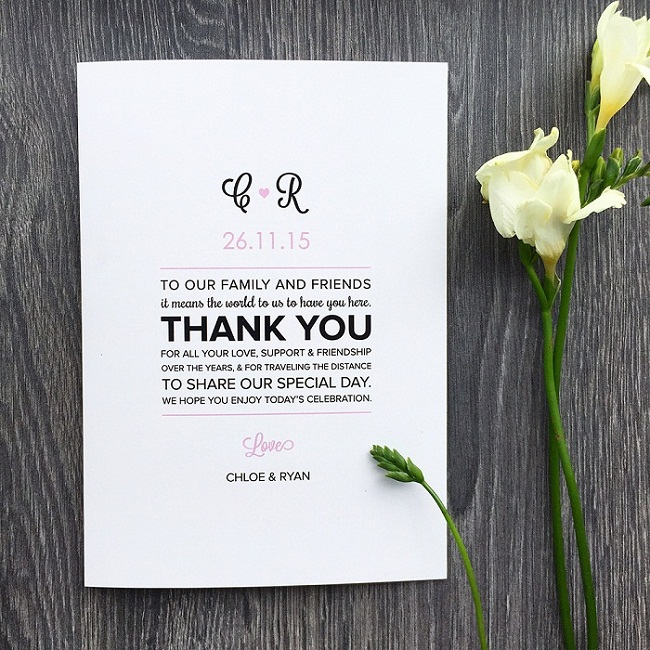 Samples For Wedding Programs Message Of Thanks