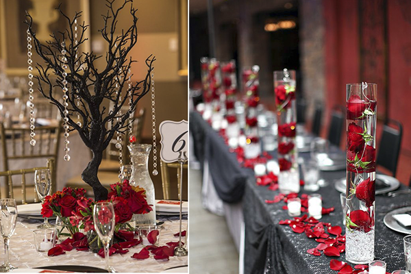 For Long Tables Put Red Roses In Gles Filled With Water And Use Black Tablecloth To Complete The Theme