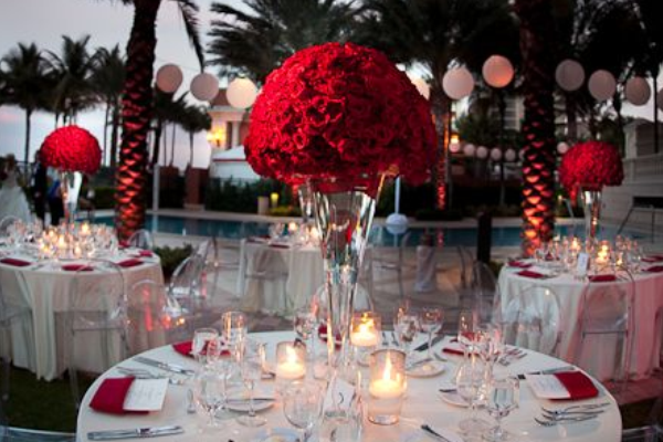 Wedding decoration ideas red white and black table for White wedding table decorations
