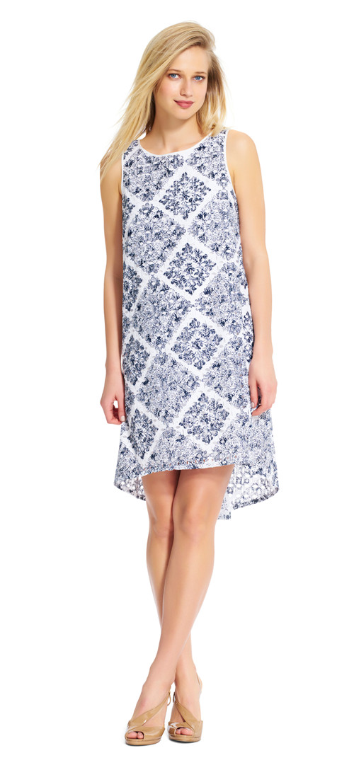 Printed Eyelet Shift Dress With Keyhole Back