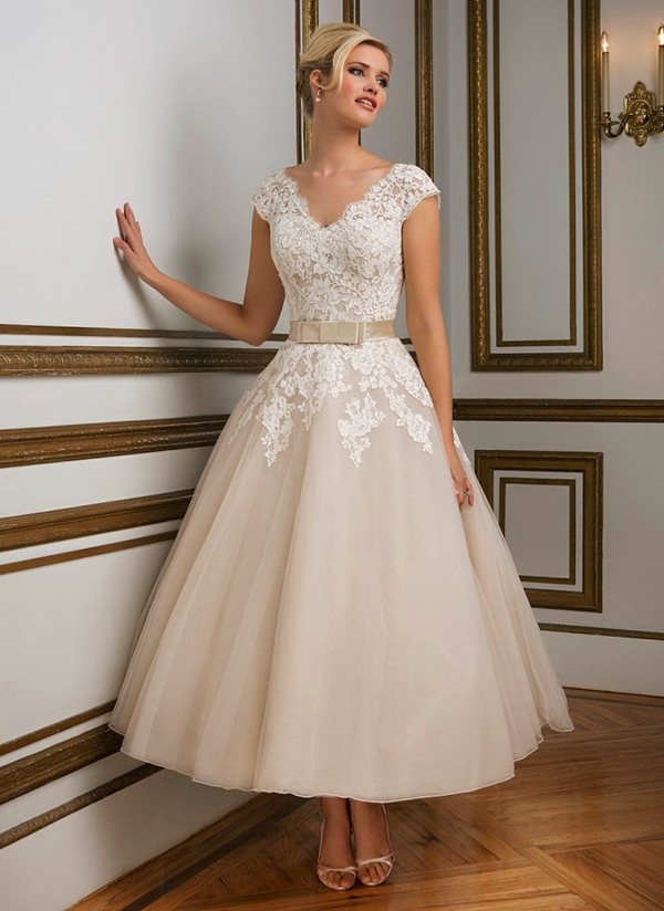 V Neckline Tulle Tea Length Ball Gown