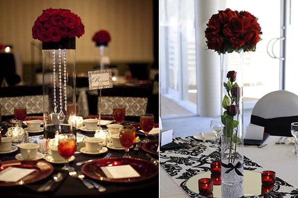 Wedding Decoration Ideas: Red, White And Black Table Centerpieces