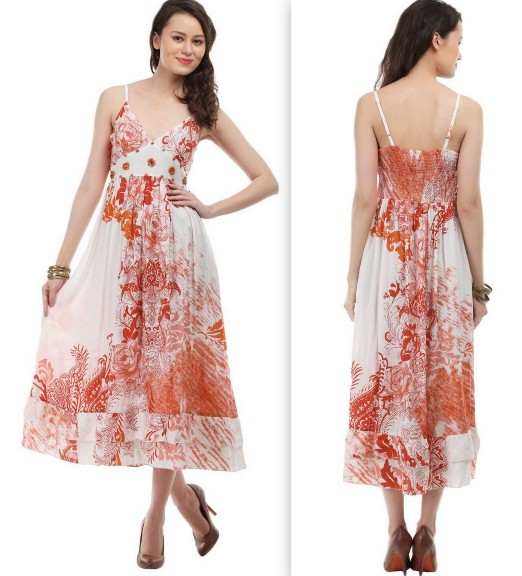 Lamora Off White Red Floral Print Dress
